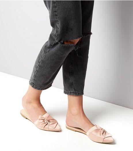 Pink Sateen Knot Front Pointed Mules | New Look