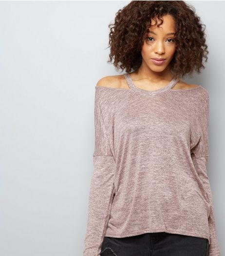 Shell Pink Asymmetric Cut Out V Neck Top  | New Look