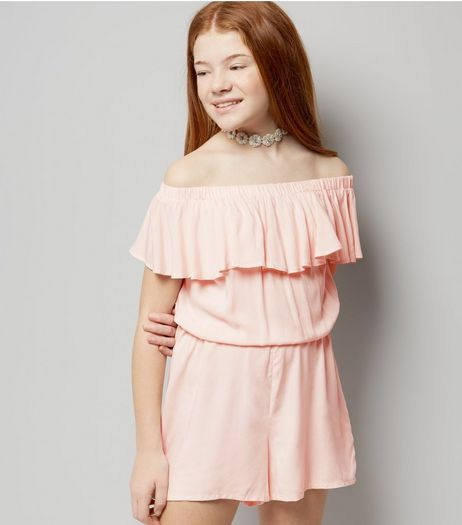 Teens Pink Frill Trim Bardot Playsuit | New Look