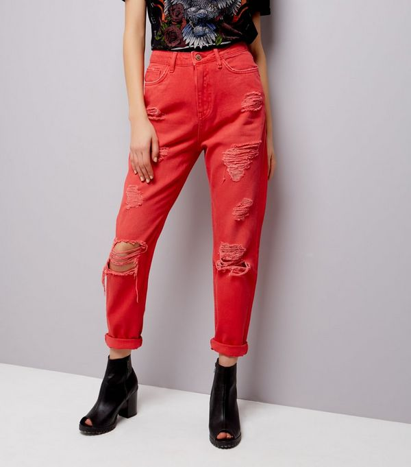 Red Ripped Tori Mom Jeans