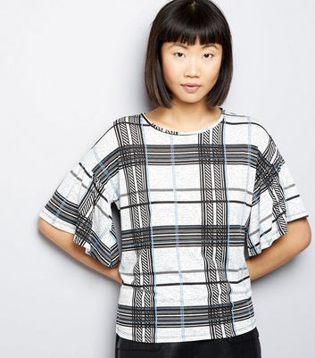 White Check Frill Trim Short Sleeve Top