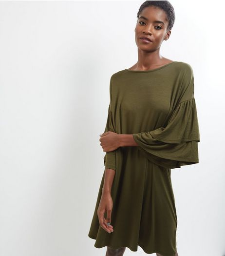 Khaki Frill Sleeve Trim Dress | New Look
