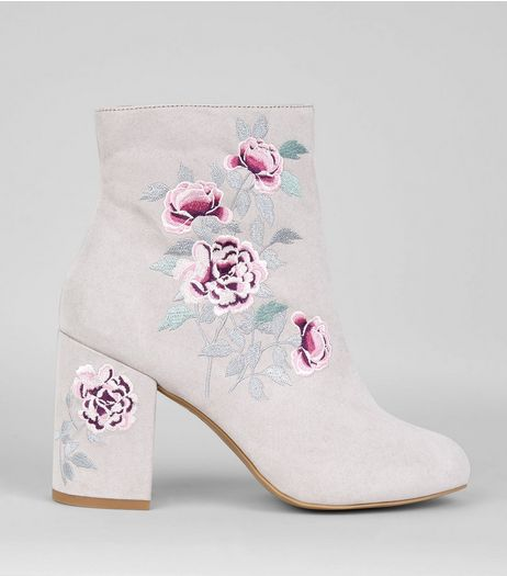 Grey Suedette Floral Embroidered Boots | New Look