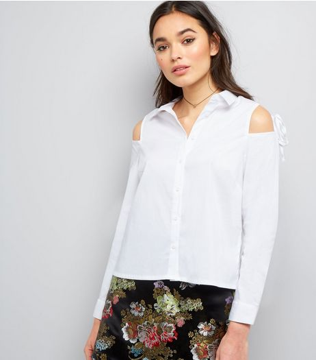 White Tie Cold Shoulder Long Sleeve Shirt  | New Look