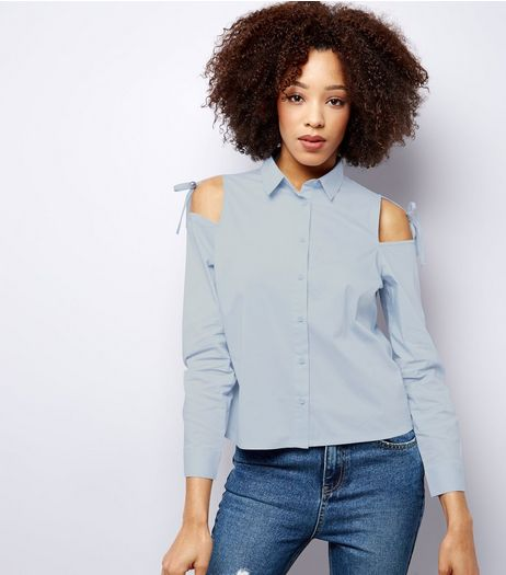 Blue Tie Up Cold Shoulder Shirt | New Look