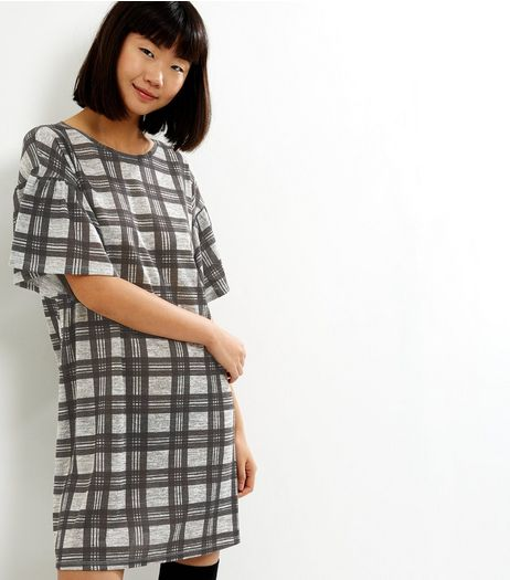 Grey Check Short Sleeve Dress | New Look