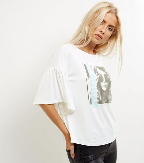 White J'adore Moi Flutter Sleeve Top | New Look