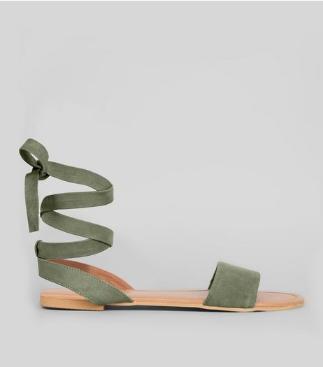 Wide Fit Khaki Leather Ankle Tie Sandals  | New Look
