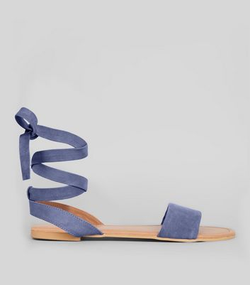Wide Fit Blue Suede Ankle Tie Sandals | New Look