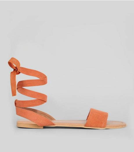 Wide Fit Orange Suede Ankle Tie Sandals | New Look