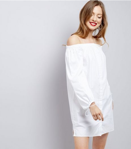 White Button Front Tie Sleeve Bardot Neck Dress  | New Look