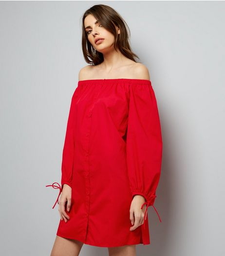 Red Button Front Bardot Neck Dress | New Look