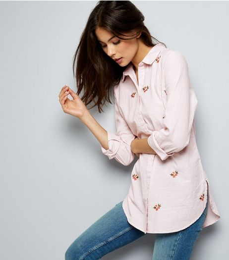 Pink Floral Embroidered Shirt  | New Look
