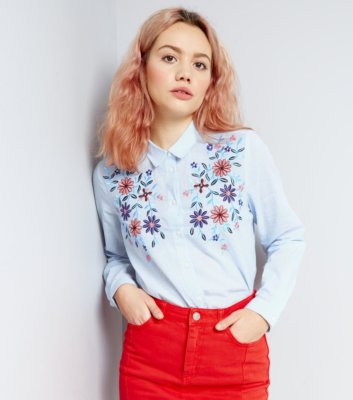 Blue Floral Embroidered Long Sleeve Shirt | New Look