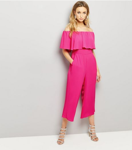 Pink Frill Trim Bardot Neck Cropped Jumpsuit  | New Look