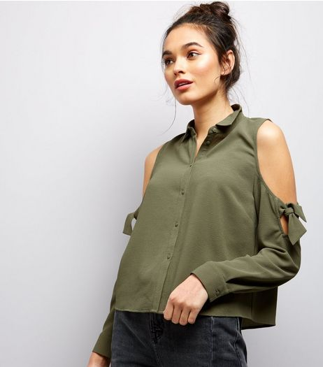 Khaki Cold Shoulder Tie Sleeve Shirt | New Look