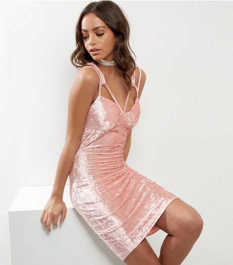 Cameo Rose Pink Velvet Multi Strap Dress | New Look