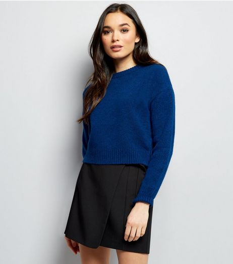 Blue Crew Neck Cropped Jumper | New Look