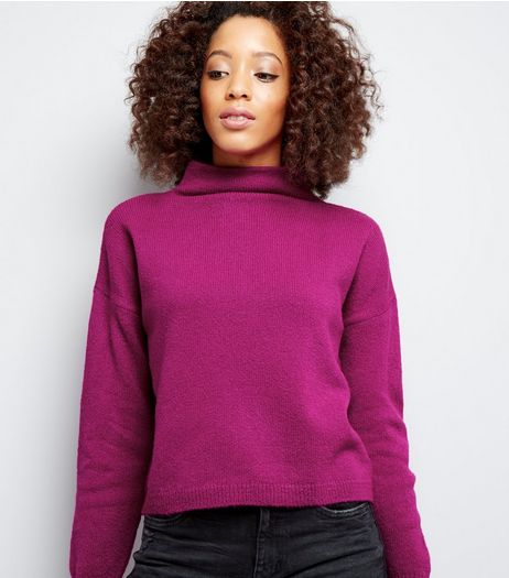 Purple Funnel Neck Cropped Jumper | New Look