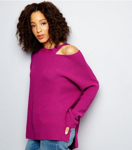 Purple Cut Out Long Sleeve Jumper | New Look