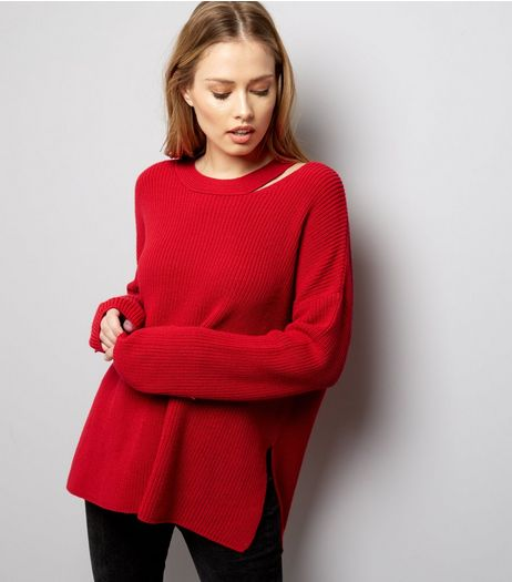 Red Cut Out Long Sleeve Jumpers | New Look