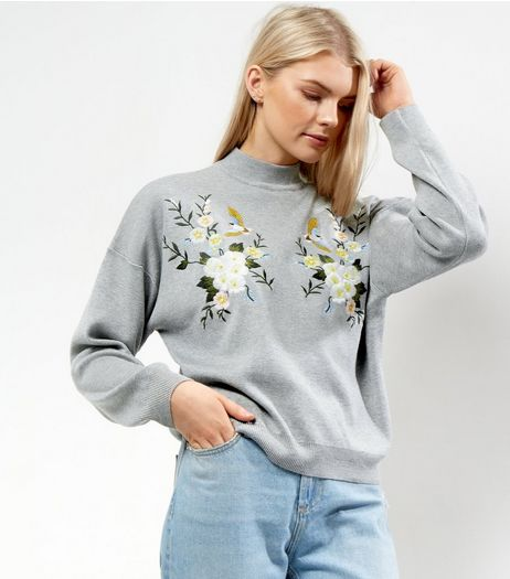 Pale Grey Funnel Neck Floral Bird Embroidered Jumper | New Look