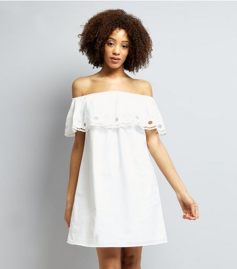 White Cut Out Trim Bardot Neck Dress | New Look