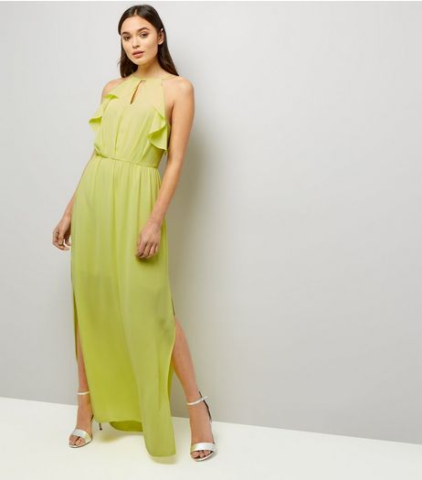 Yellow Frill Trim Keyhole Front Maxi Dress  | New Look