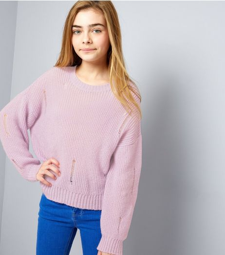 Teens Purple Ladder Knit Jumper | New Look