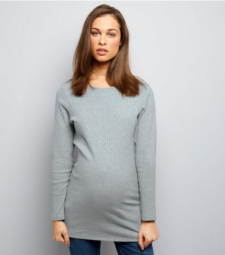 Maternity Pale Grey Brushed Ribbed Long Sleeve Tunic | New Look