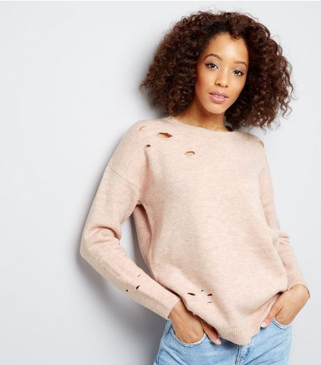 Shell Pink Ripped Jumper | New Look