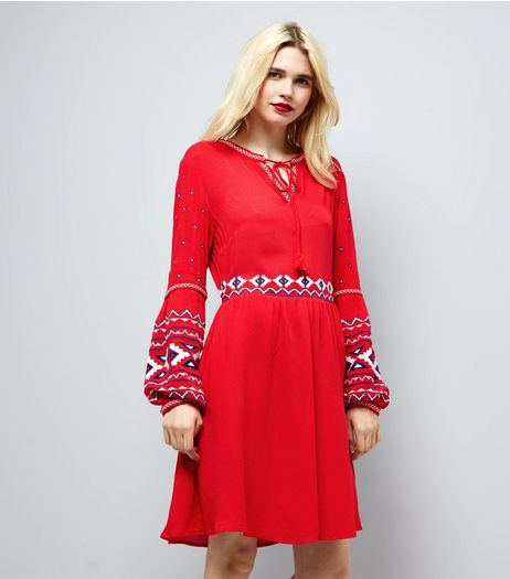 Red Embroidered Trim Smock Dress | New Look