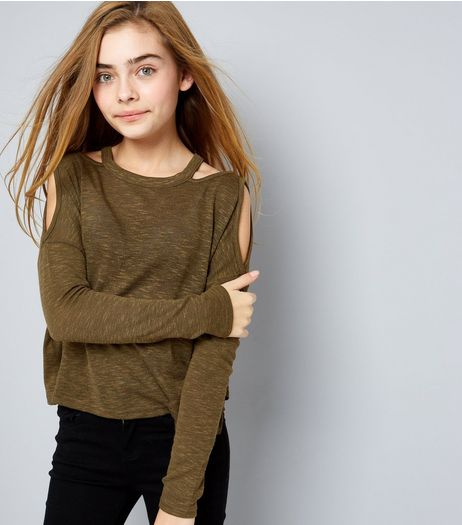 Teens Khaki Fine Knit Cut Out Cold Shoulder Top | New Look