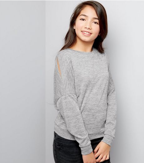 Teens Grey Fine Knit Split Sleeve Top | New Look