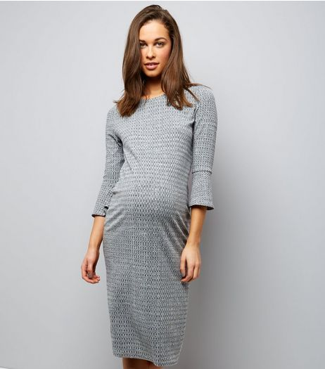 Maternity Grey Bell Sleeve Ribbed Fine Knit Midi Dress | New Look