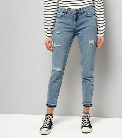 Blue Ripped Drop Hem Relaxed Skinny Leyla Jeans | New Look