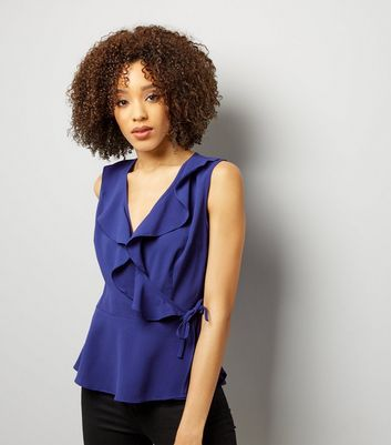 Blue Frill Trim Wrap Front Sleeveless Top