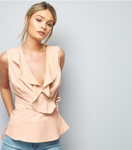 Pink Frill Trim V Neck Sleeveless Top  | New Look