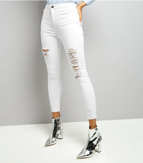 White Ripped Skinny Hallie Jeans  | New Look