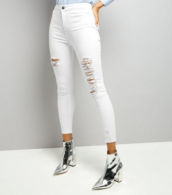 White Ripped Skinny Jenna Jeans