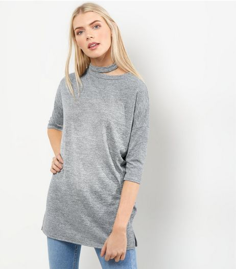 Grey Cut Out Neck Tunic | New Look