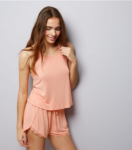 Coral Lace Trim Jersey Vest and Shorts Pyjama Set | New Look