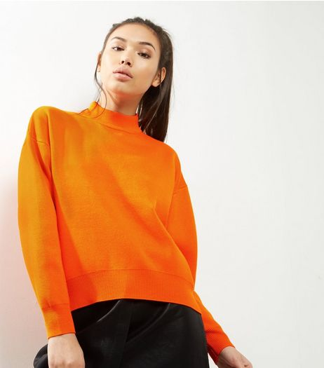 Orange Funnel Neck Sweater | New Look