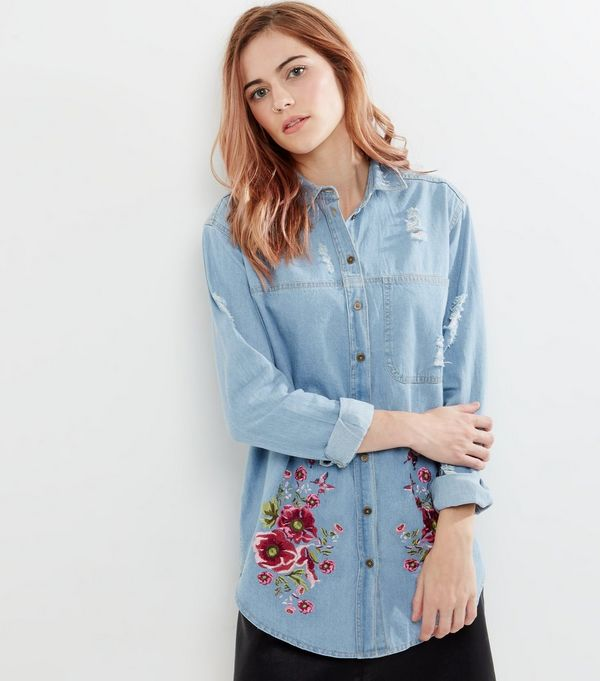 Innocence Pale Blue Floral Embroidered Denim Shirt