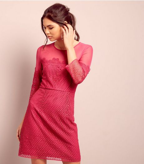 Bright Pink Lace Mesh Panel 3/4 Sleeve Dress  | New Look