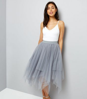 Grey Tulle Hanky Hem Midi Skirt
