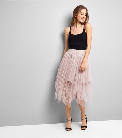 Pink Tulle Hanky Hem Midi Skirt | New Look