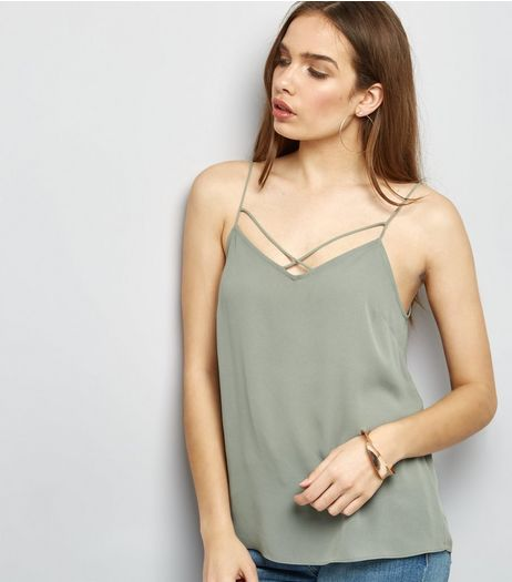 Khaki Cross Strap Front Cami Top  | New Look