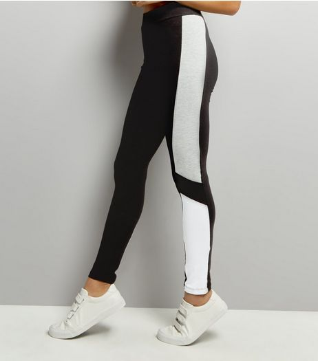 Light Grey Colour Block Leggings | New Look