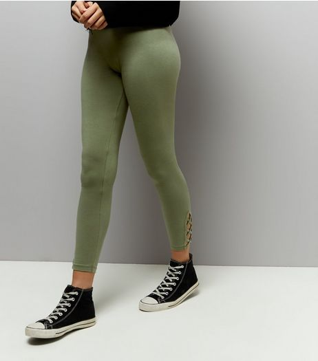 Khaki Lattice Hem Leggings | New Look